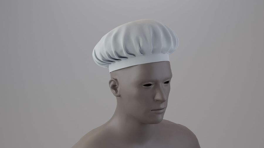Chef hat royalty-free 3d model - Preview no. 2