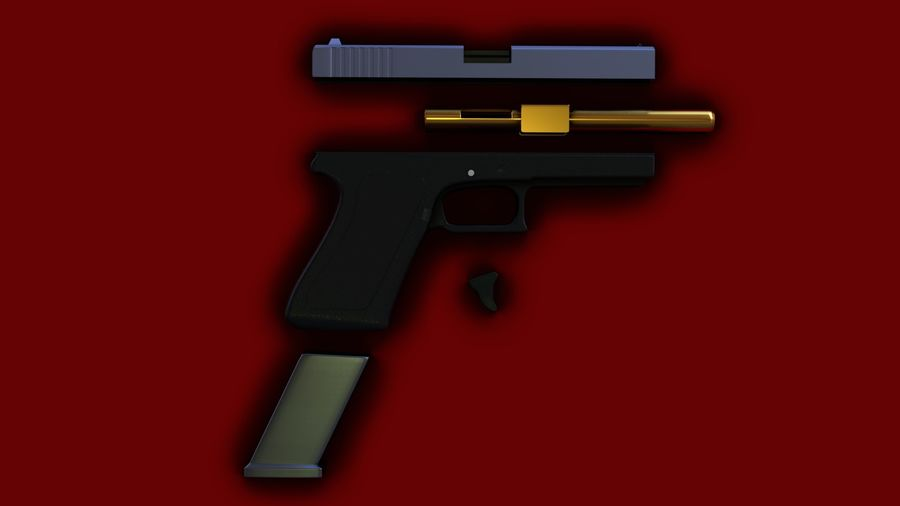 Оружие / Gun HandGun royalty-free 3d model - Preview no. 28