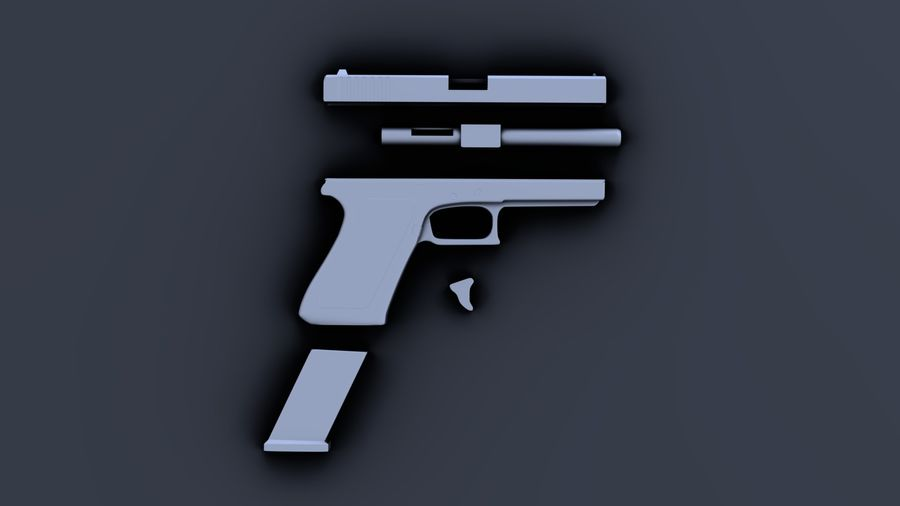 Weapon/Gun HandGun royalty-free 3d model - Preview no. 30