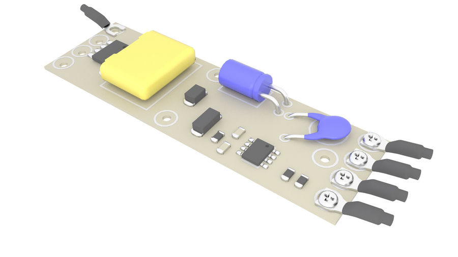 Electronics Board 3 royalty-free 3d model - Preview no. 2