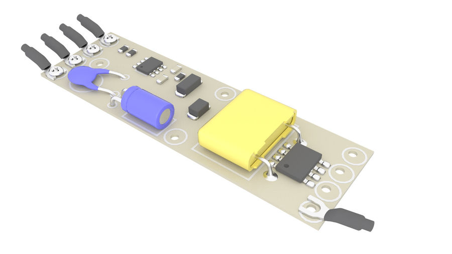 Electronics Board 3 royalty-free 3d model - Preview no. 5
