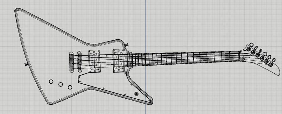Explorer guitar Classic Black royalty-free 3d model - Preview no. 9