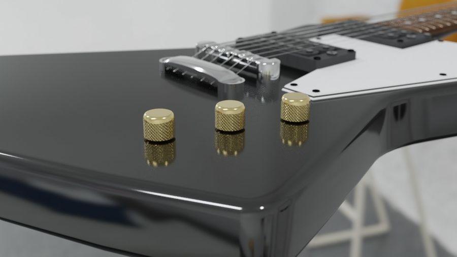 Explorer guitar Classic Black royalty-free 3d model - Preview no. 2