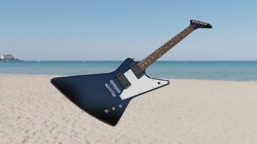 Explorer guitar Classic Black royalty-free 3d model - Preview no. 6