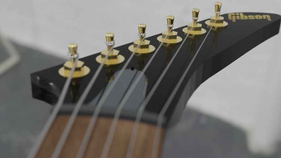Explorer guitar Classic Black royalty-free 3d model - Preview no. 3