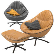 Label van den Berg - Fauteuil Hidde avec repose-pieds 3d model