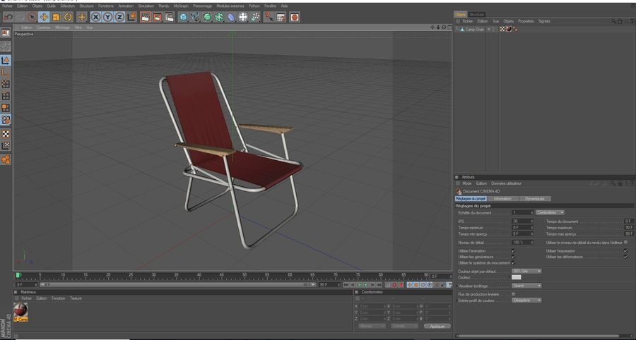 Camp Chair royalty-free 3d model - Preview no. 13