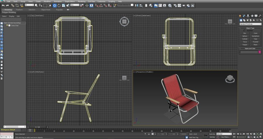 Camp Chair royalty-free 3d model - Preview no. 12