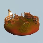 Модульная деревянная опора 3d model