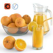 Portakal ve meyve suyu 3d model