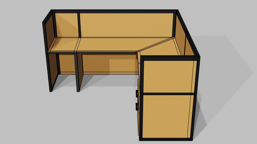 Офисная мебель royalty-free 3d model - Preview no. 8