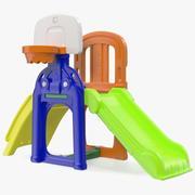 Plastic kinderglijbaan met basketbalring 3d model