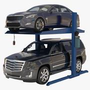 Två hissar med parkering och bilar 3d model