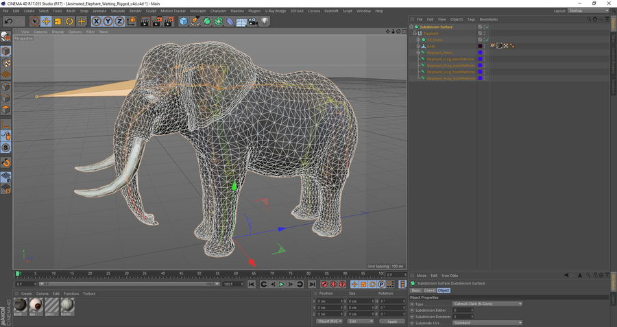 Animerad Elephant Waiting Rigged for Cinema 4D royalty-free 3d model - Preview no. 14