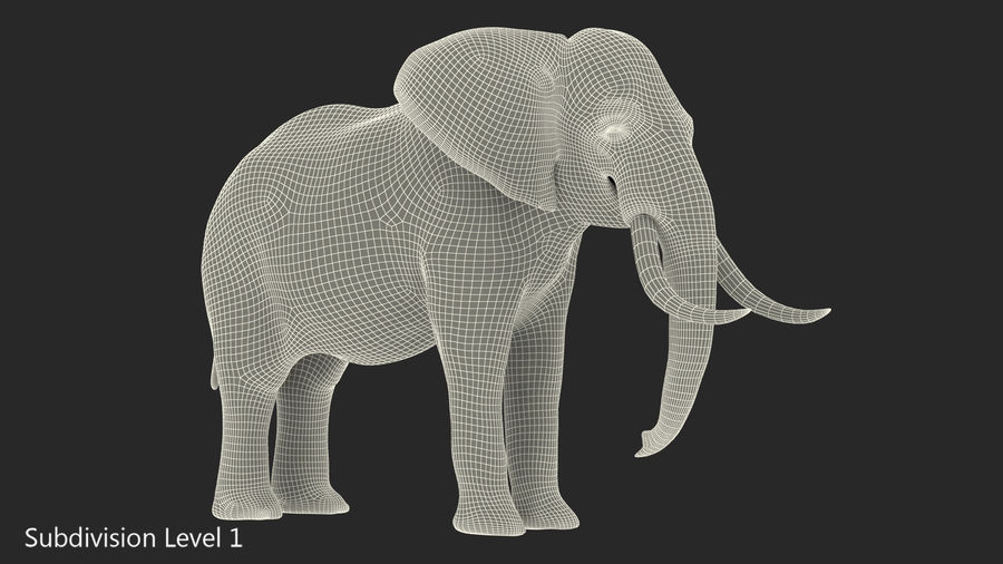 Animerad Elephant Waiting Rigged for Cinema 4D royalty-free 3d model - Preview no. 19