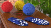 Knitted Blue Wool Mittens 3d model