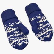 Pair of Blue Wool Mittens 3d model