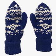 Pair of Blue Wool Mittens Fur 3d model
