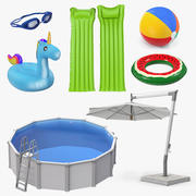 Swimming Pool and Accessories Collection 4 3d model