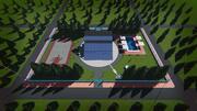 Tesla solar roof rotating glass villa 3d model