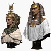 Faraón y reina egipcia modelo 3d