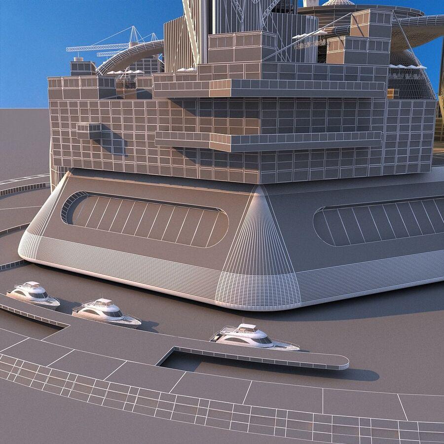 futura ciudad marítima royalty-free modelo 3d - Preview no. 14