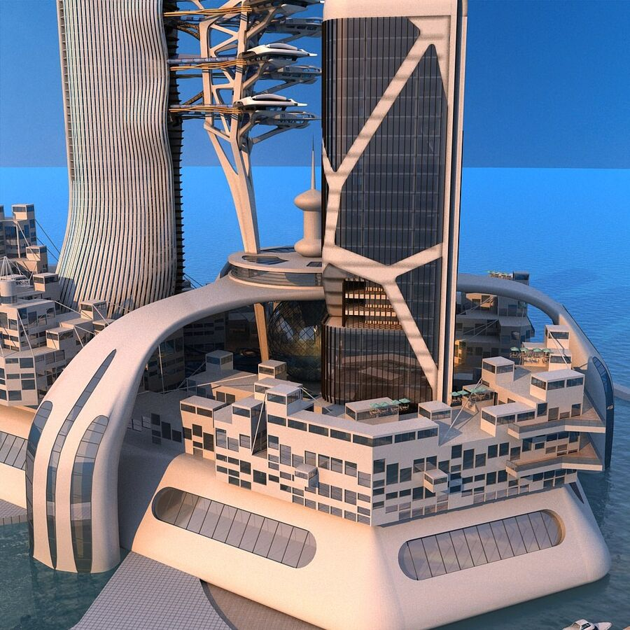futura ciudad marítima royalty-free modelo 3d - Preview no. 12