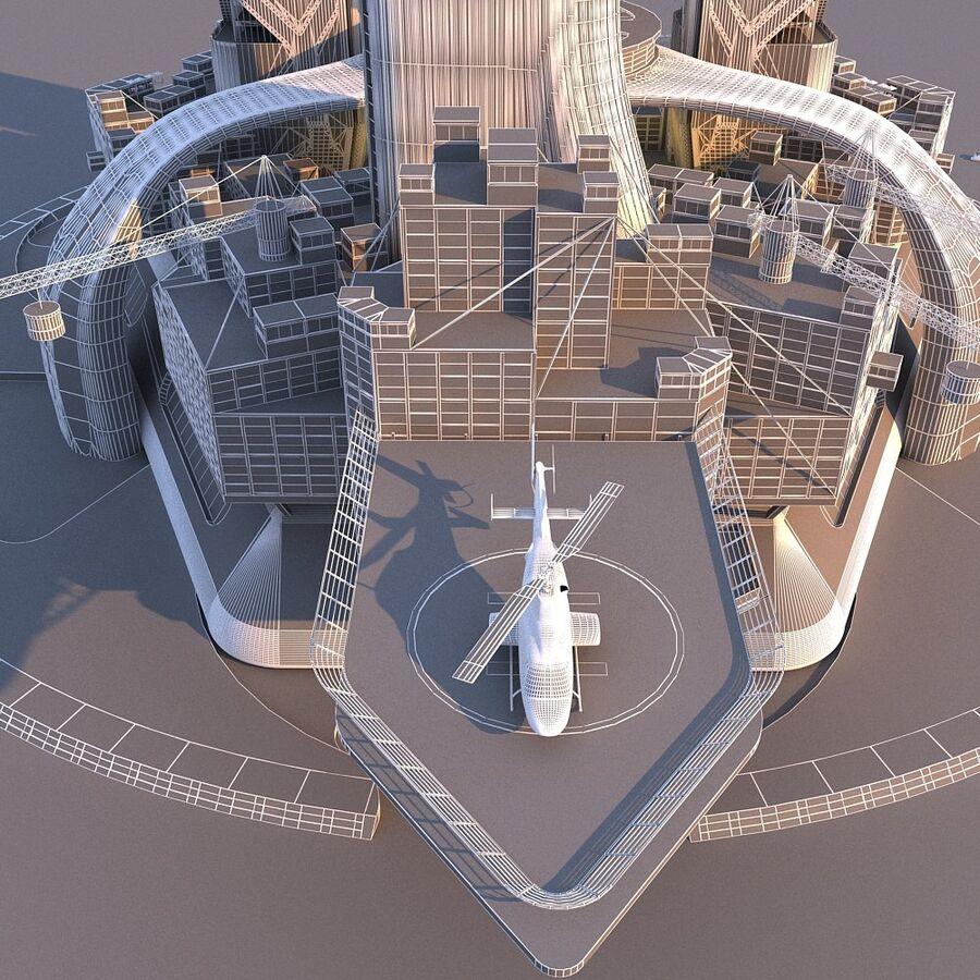 futura ciudad marítima royalty-free modelo 3d - Preview no. 6