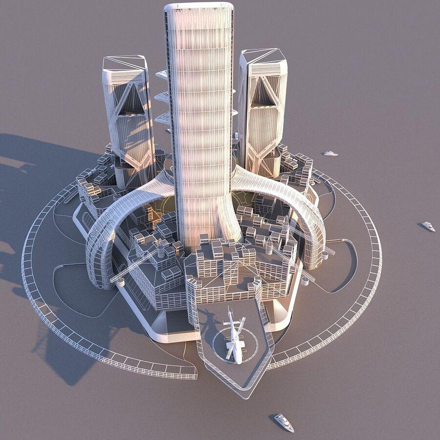 futura ciudad marítima royalty-free modelo 3d - Preview no. 5