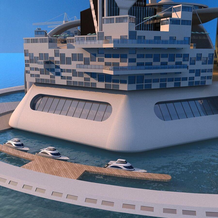 futura ciudad marítima royalty-free modelo 3d - Preview no. 13