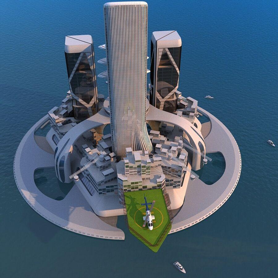 futura ciudad marítima royalty-free modelo 3d - Preview no. 4