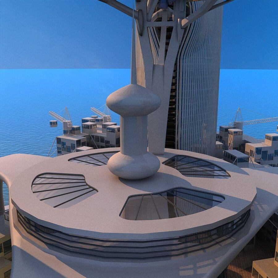 futura ciudad marítima royalty-free modelo 3d - Preview no. 20