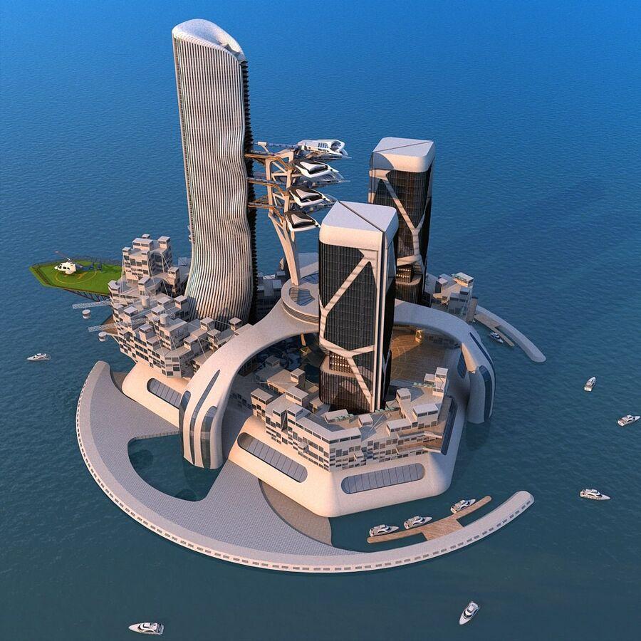 futura ciudad marítima royalty-free modelo 3d - Preview no. 1