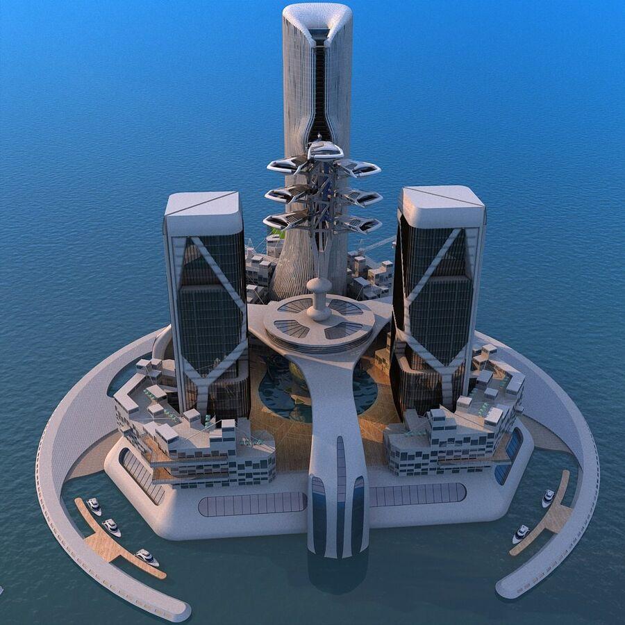 futura ciudad marítima royalty-free modelo 3d - Preview no. 2