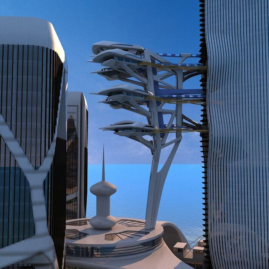 futura ciudad marítima royalty-free modelo 3d - Preview no. 19