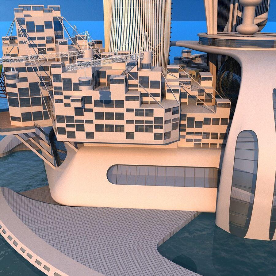 futura ciudad marítima royalty-free modelo 3d - Preview no. 11