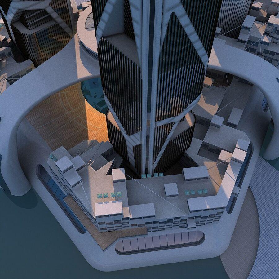 futura ciudad marítima royalty-free modelo 3d - Preview no. 17