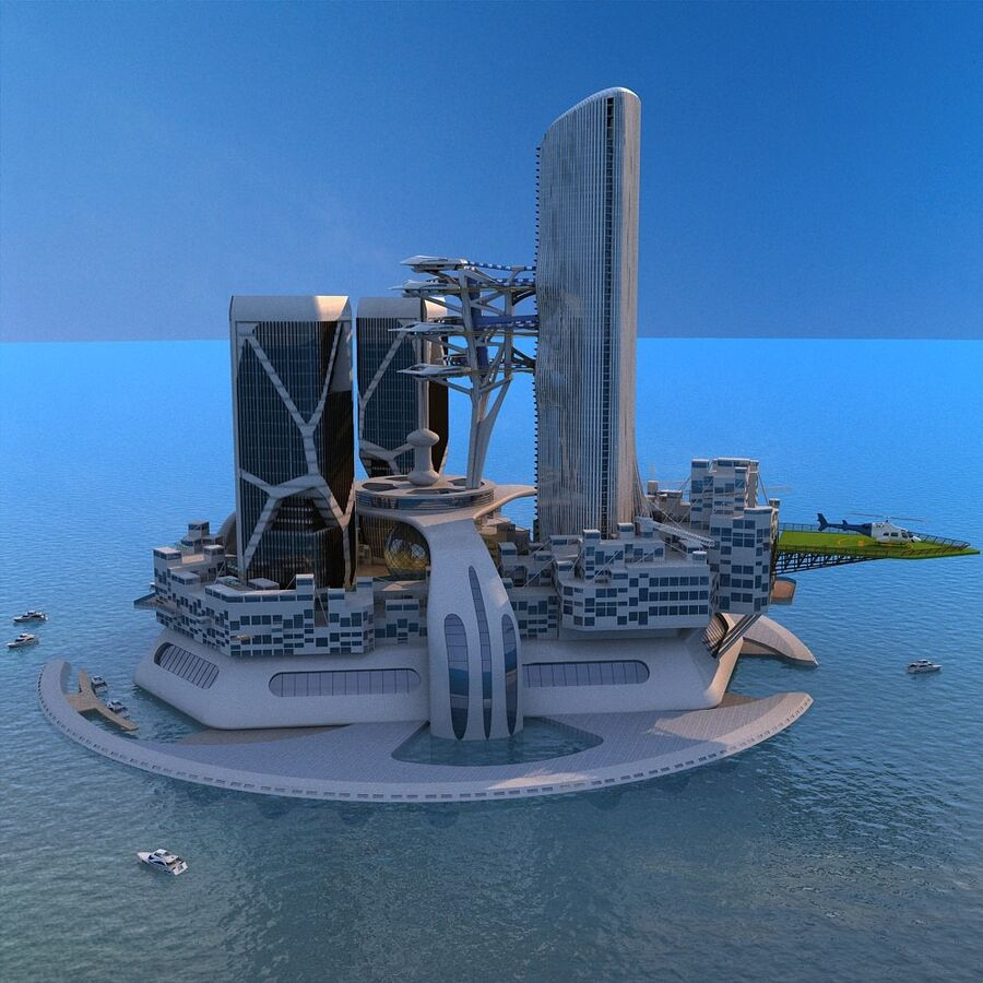 futura ciudad marítima royalty-free modelo 3d - Preview no. 3