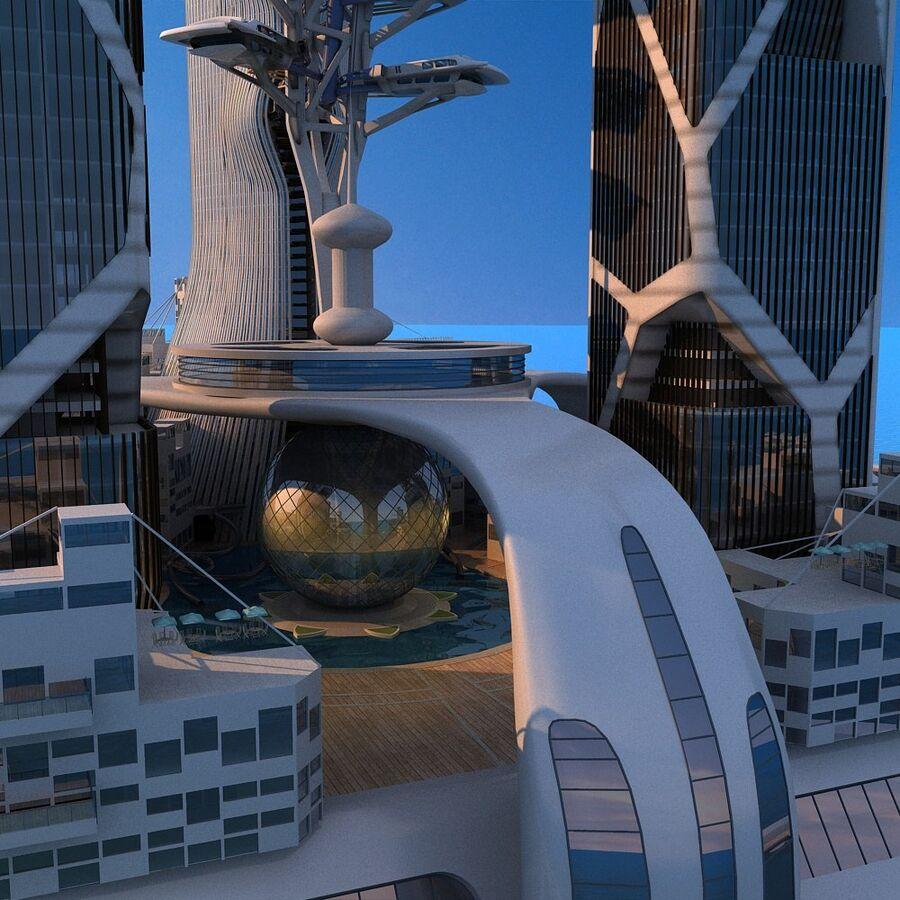 futura ciudad marítima royalty-free modelo 3d - Preview no. 15