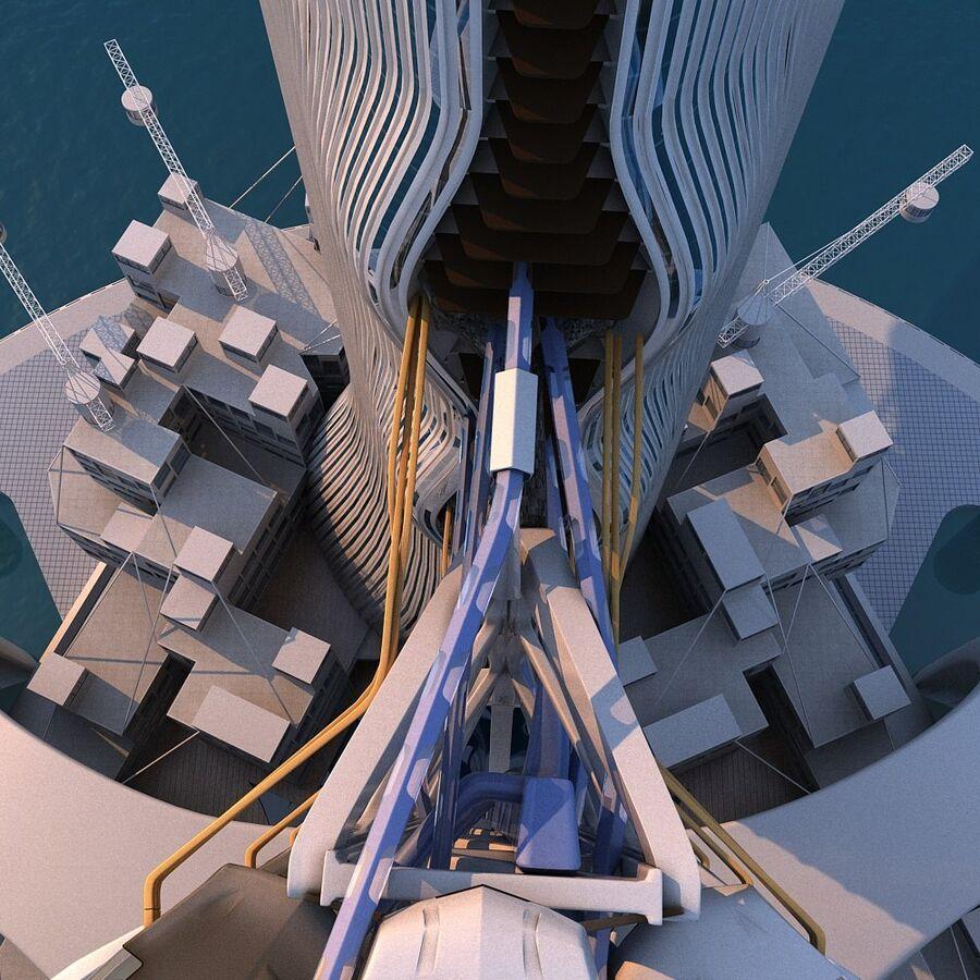 futura ciudad marítima royalty-free modelo 3d - Preview no. 22