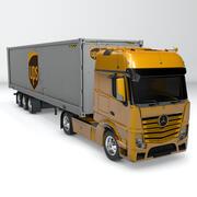 UPS amarelo Mercedes Benz Actros L703 3d model
