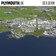 Plymouth UK 50x50km 3d model