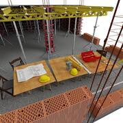 Byggarbetsplats med verktyg 3d model