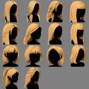 Character - Cartoon - Girl Hairs Collection 3d model