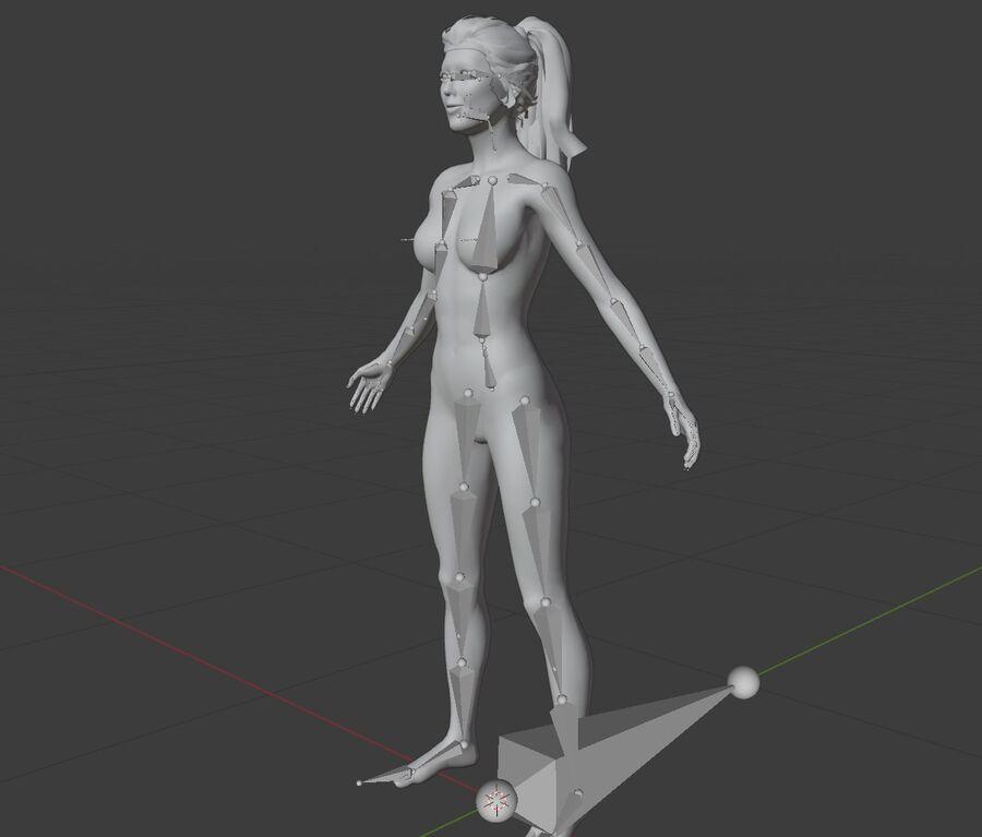 Corps complet et visage de la femme royalty-free 3d model - Preview no. 7