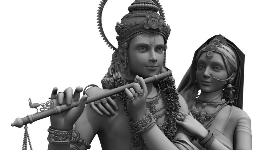 lord krishna royalty-free 3d model - Preview no. 3