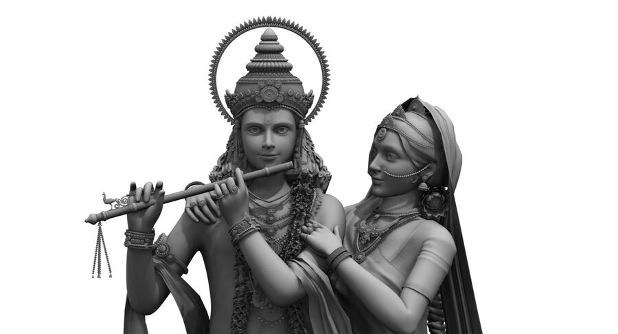 Lord krishna royalty-free 3d model - Preview no. 2