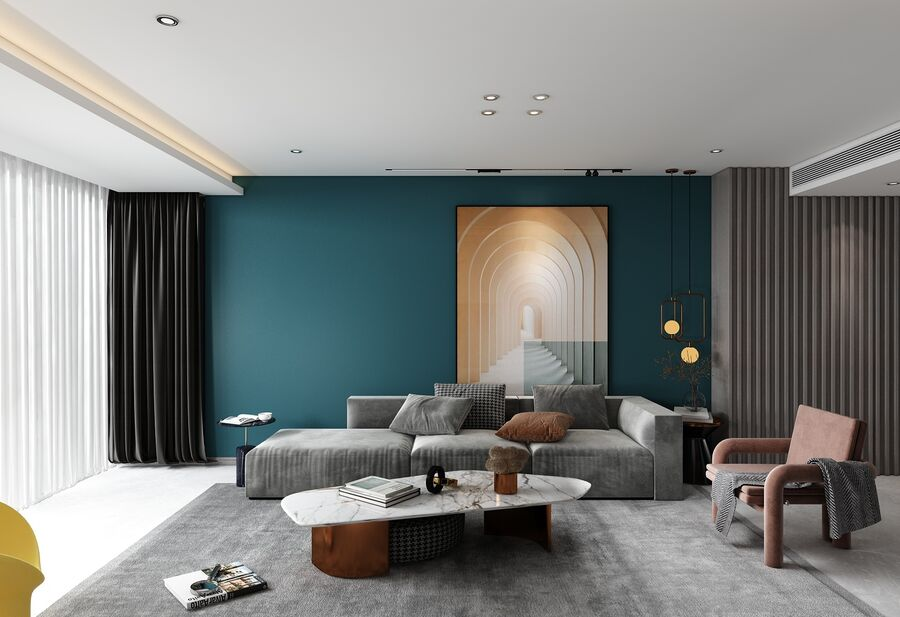 modern interieur royalty-free 3d model - Preview no. 7