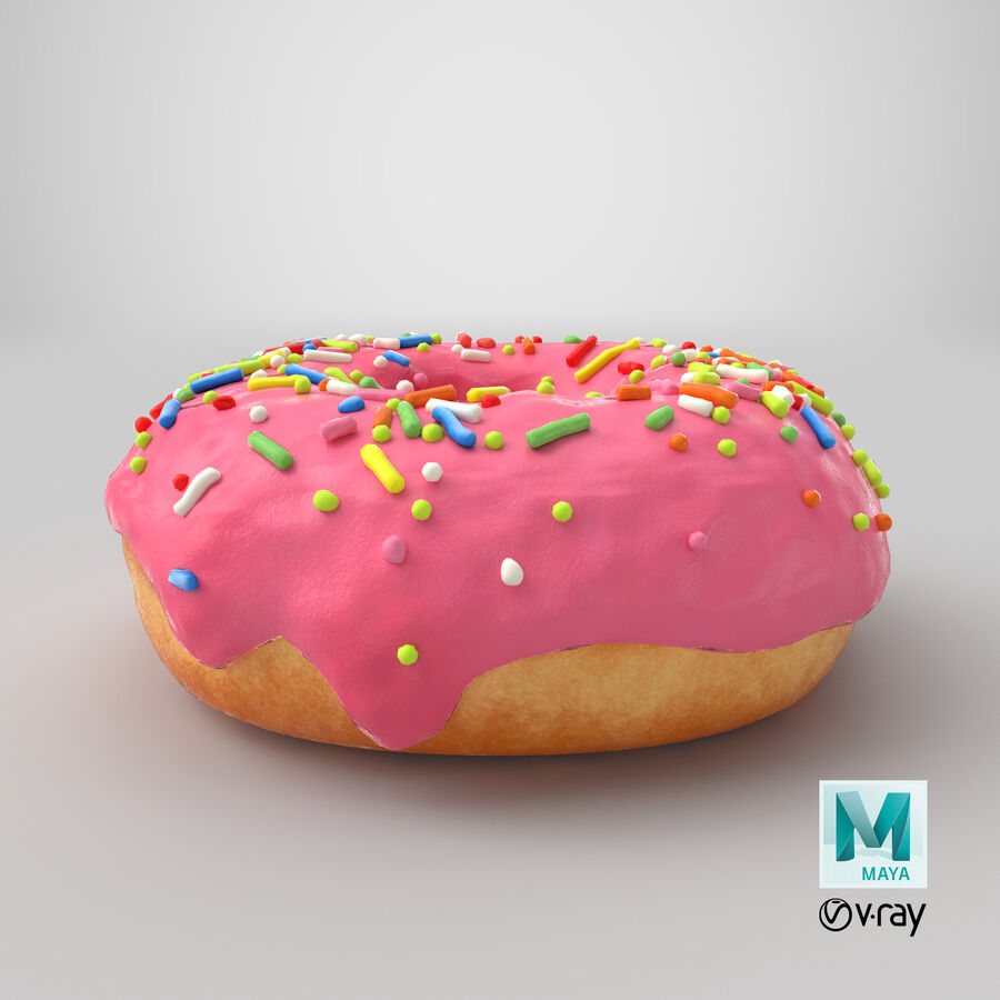 Donut 03 - Pink royalty-free 3d model - Preview no. 21