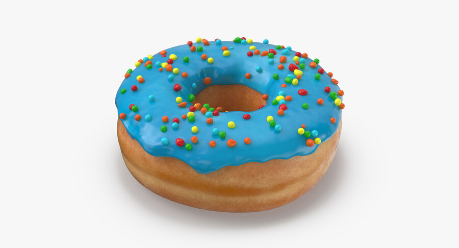 Donut 01 - Blue royalty-free 3d model - Preview no. 4